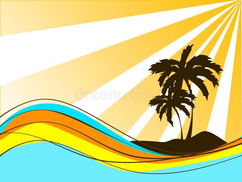 Palm op eiland vector illustratie