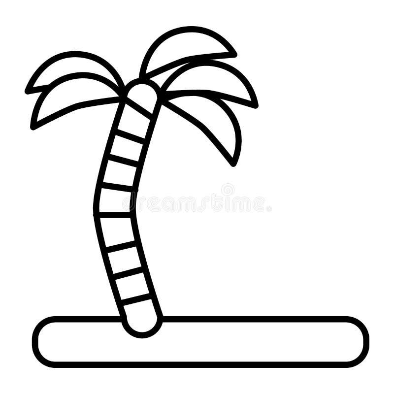 Palm op het pictogram van de eiland dunne lijn Kokospalm vectordieillustratie op wit wordt geïsoleerd Tropisch eilandoverzicht vector illustratie