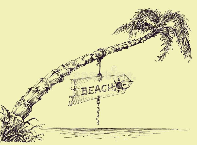 Palm op het strand royalty-vrije illustratie