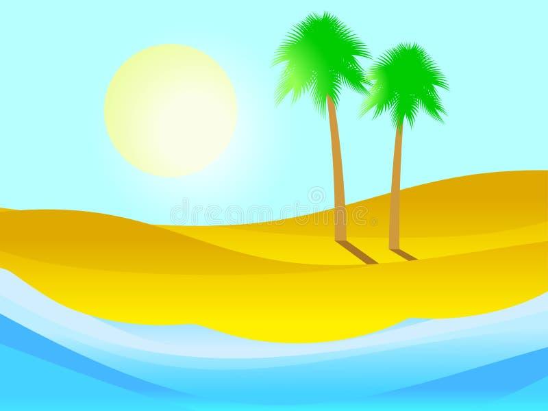 Palm op het zandige strand Tropisch eiland, de zomerlandschap Vector vector illustratie
