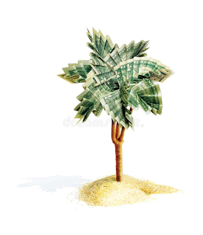 Palm origami with leaves, folded from dollar bills. The money tree grows from a pile of sand. 3d illustration. Isolated on white stock illustration