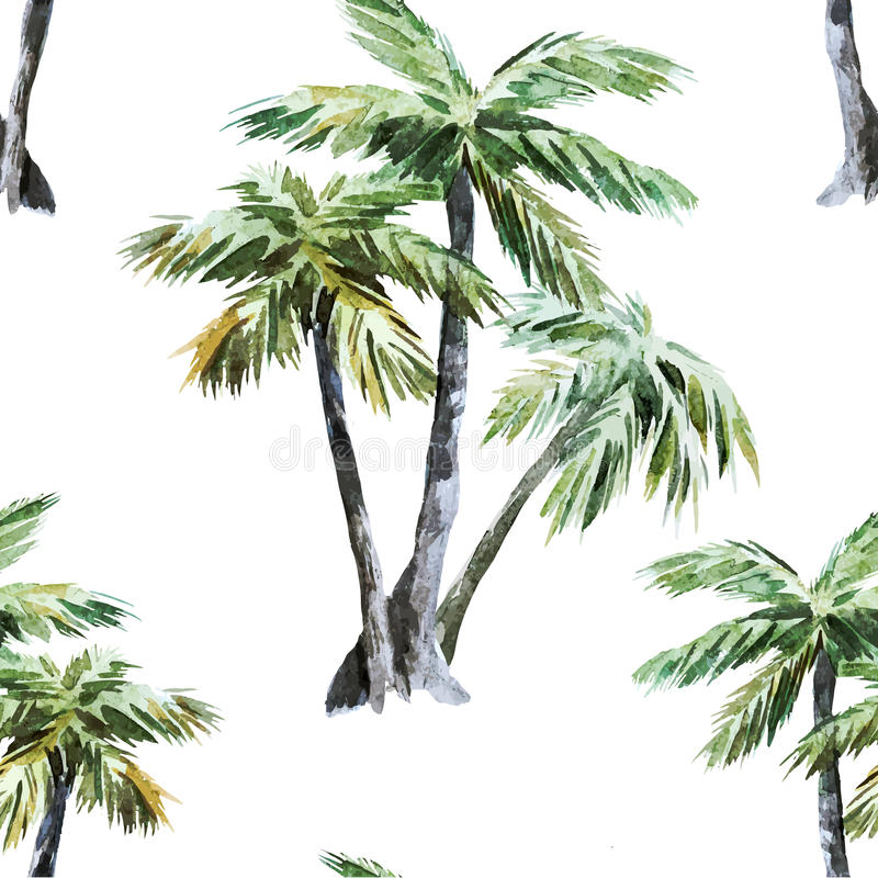 Palm pattern. Beautiful vector watercolor pattern with tropic palms