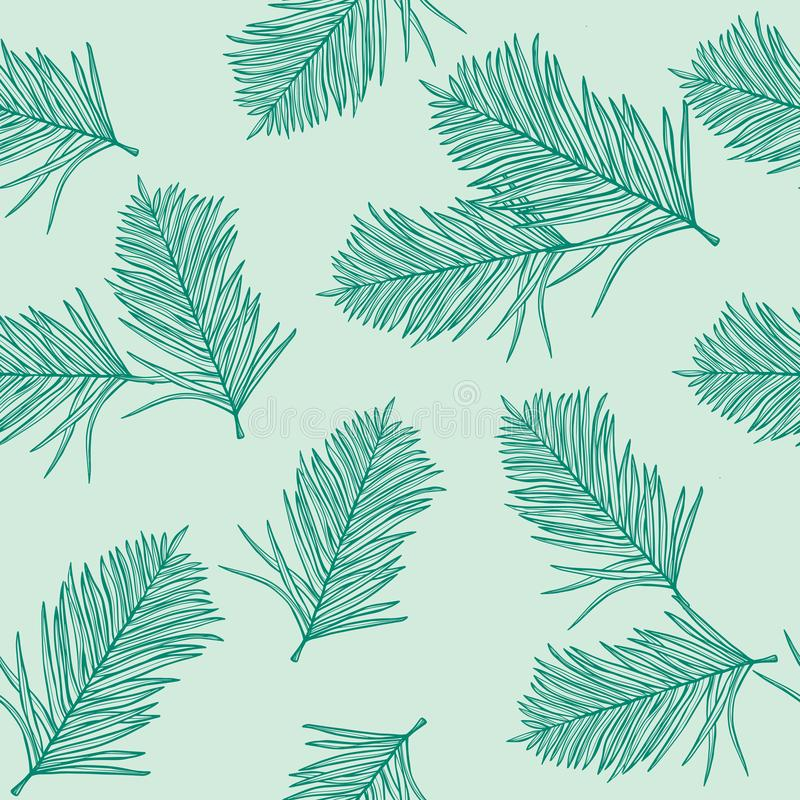 Palm pattern wallpaper of tropical dark green leaves of palm on a light green background. stock illustration