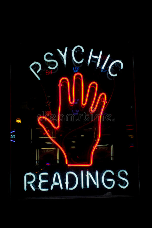 Palm reading sign. A palm reading neon sign stock photography