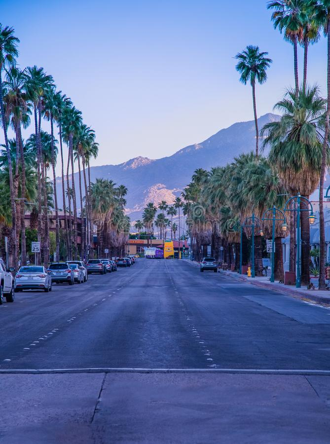 Palm Springs California sunset on mainstreet royalty free stock images