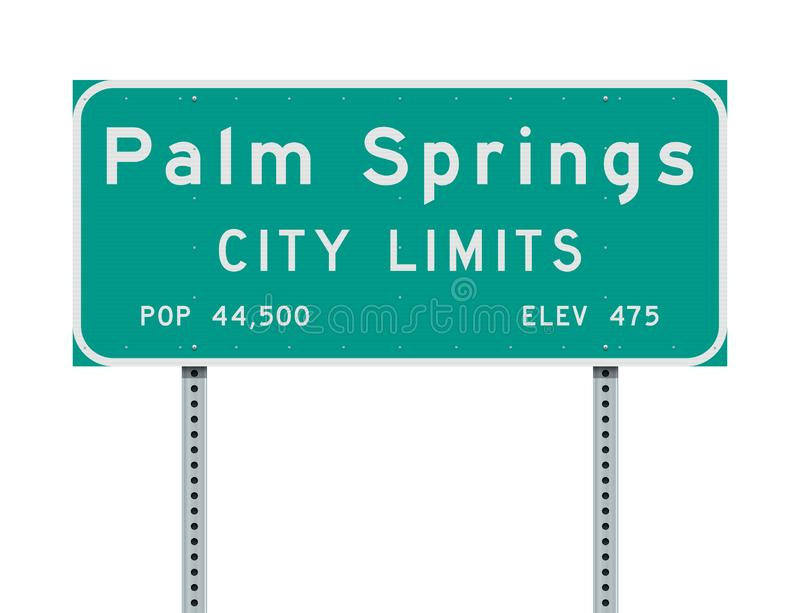Palm Springs City Limits road sign. Vector illustration of the Palm Springs City Limits green road sign stock illustration