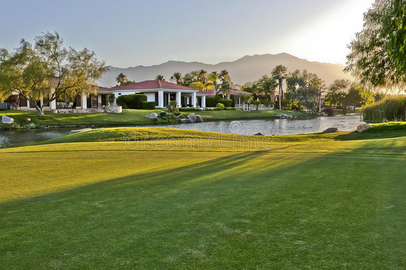 Palm Springs golf course homes royalty free stock photo