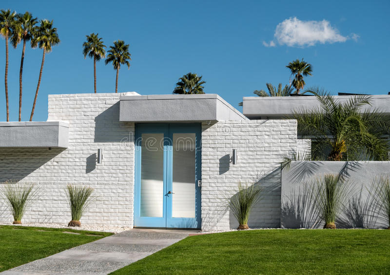 Palm Springs residential architecture. Midcentury classic residence in Palm Springs, California stock images