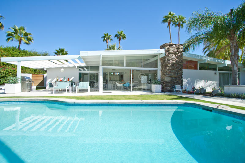 Palm Springs Swimming Pool Stock Image Image Of Shadows