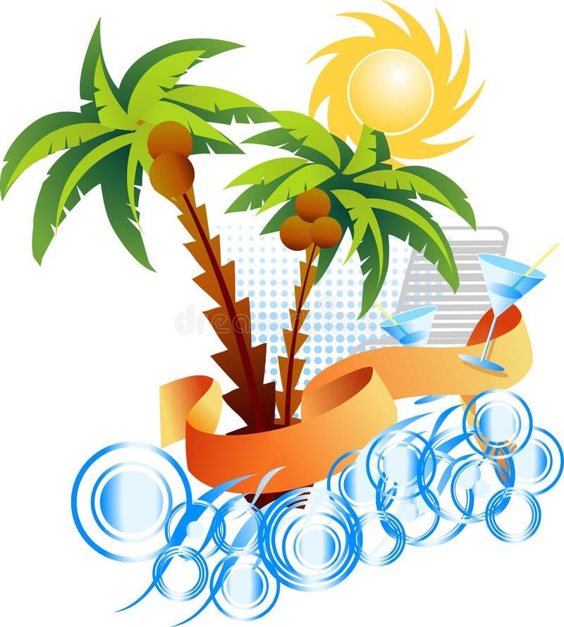 Palm. Sun. Sea. Background. Vector Illustration