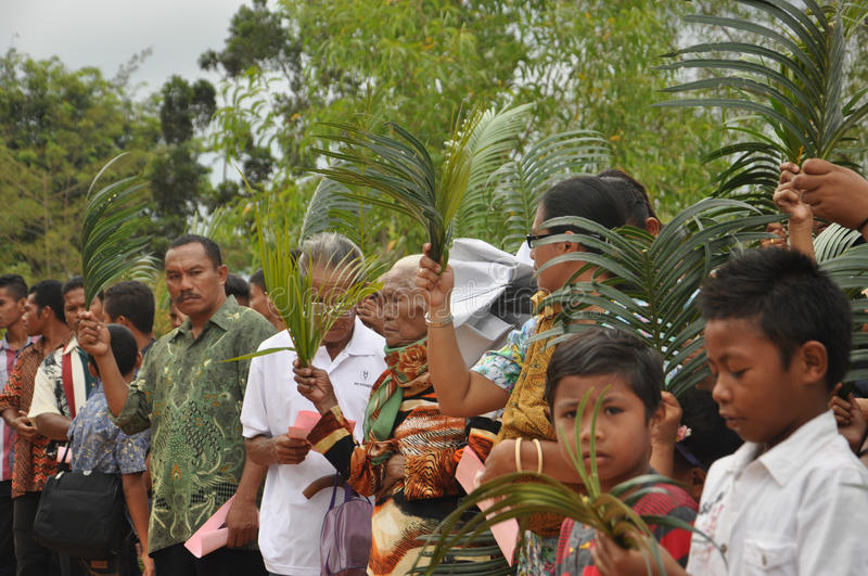Palm Sunday in Batam, Indonesia. Attendand lifted up their palm leaves to be blessed by the pastor during Palm Sunday Mass at St. Josepf Church in Batam stock photos