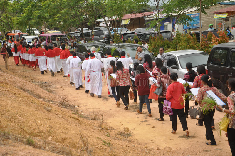 Palm Sunday in Batam, Indonesia. Indonesian Christian took part in procesion during Palm Sunday Mass at St. Josepf Church in Batam, Indonesia, Sunday (29/3) royalty free stock photo