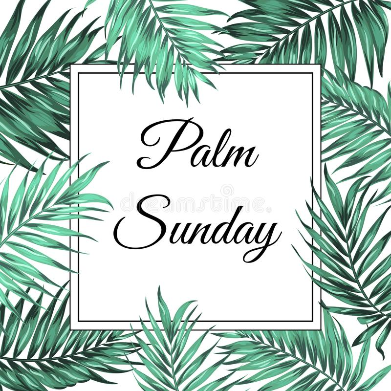 Palm Sunday border frame template green leaves. Palm Sunday Christian feast holiday. Tropical jungle tree palm green leaves border frame template. Square vector illustration
