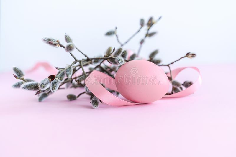 Palm sunday decoration of pussy willow with pink Easter egg and silk ribbon on pink background. stock image