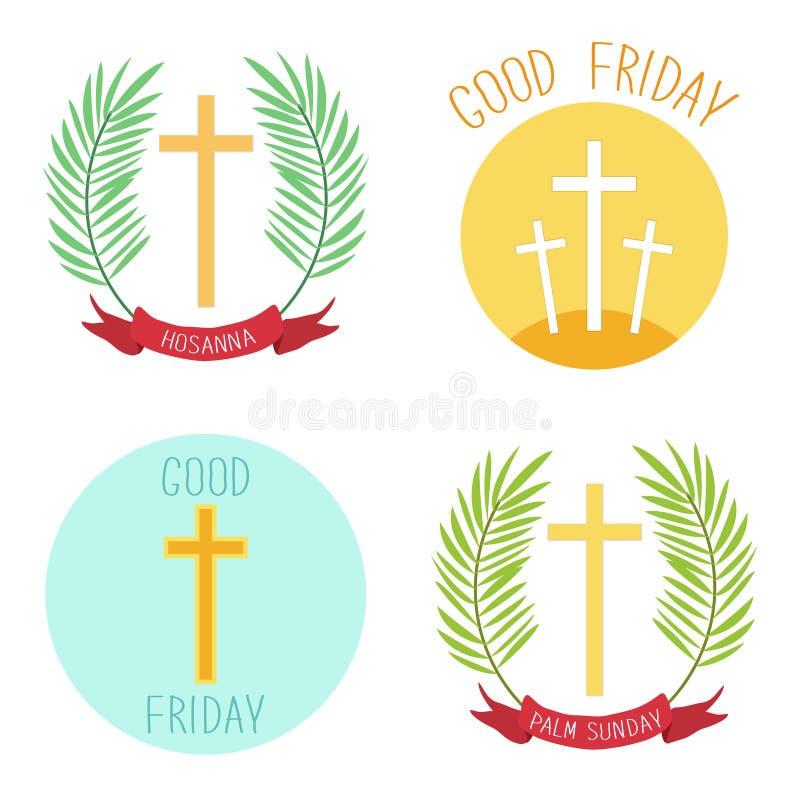 Palm Sunday and Good friday icons as religious holidays symbols royalty free illustration