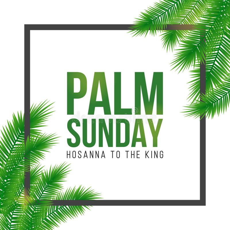 Free Palm Sunday Holiday Card, Poster With Palm Leaves Border, Frame. Vector Background Stock Photo - 108412750