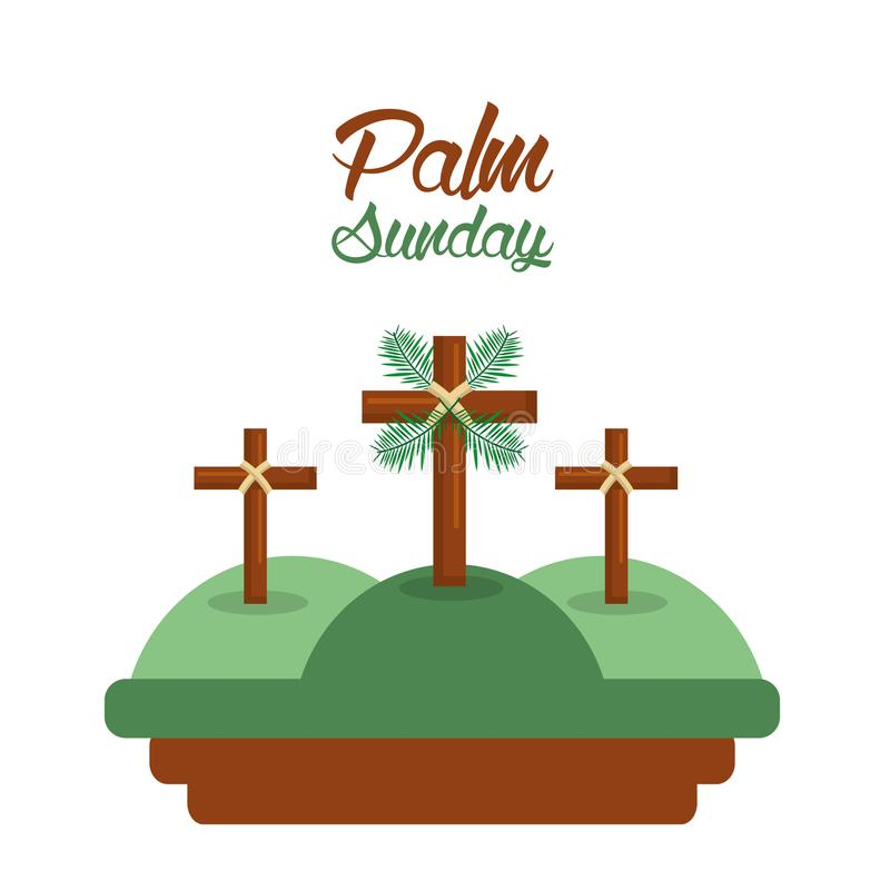 Palm sunday three crosses in the hills card stock illustration