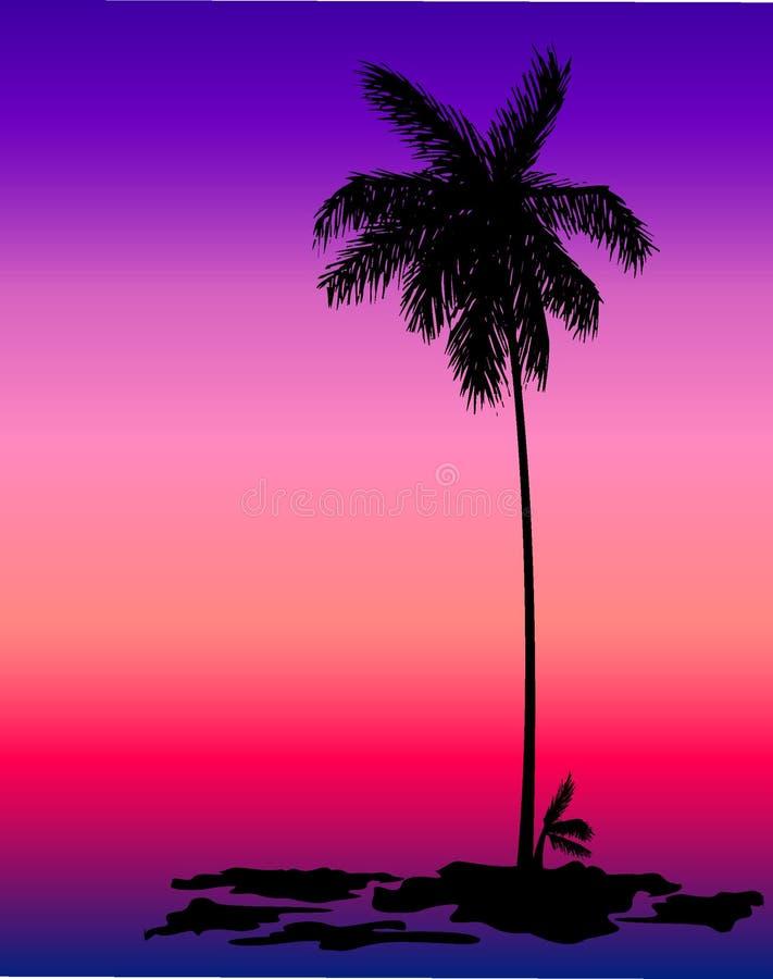 palm sylwetki drzewo royalty ilustracja