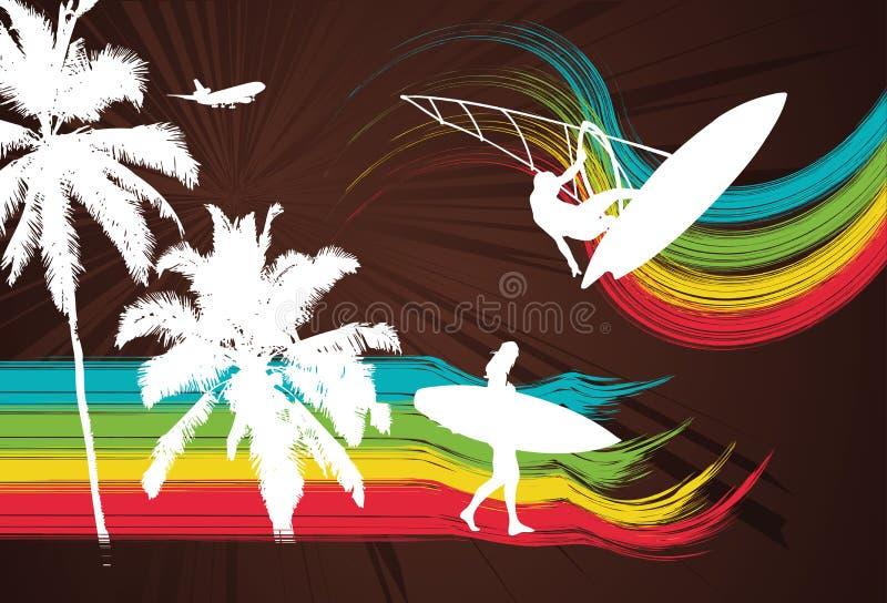 palm tęcza surfera royalty ilustracja