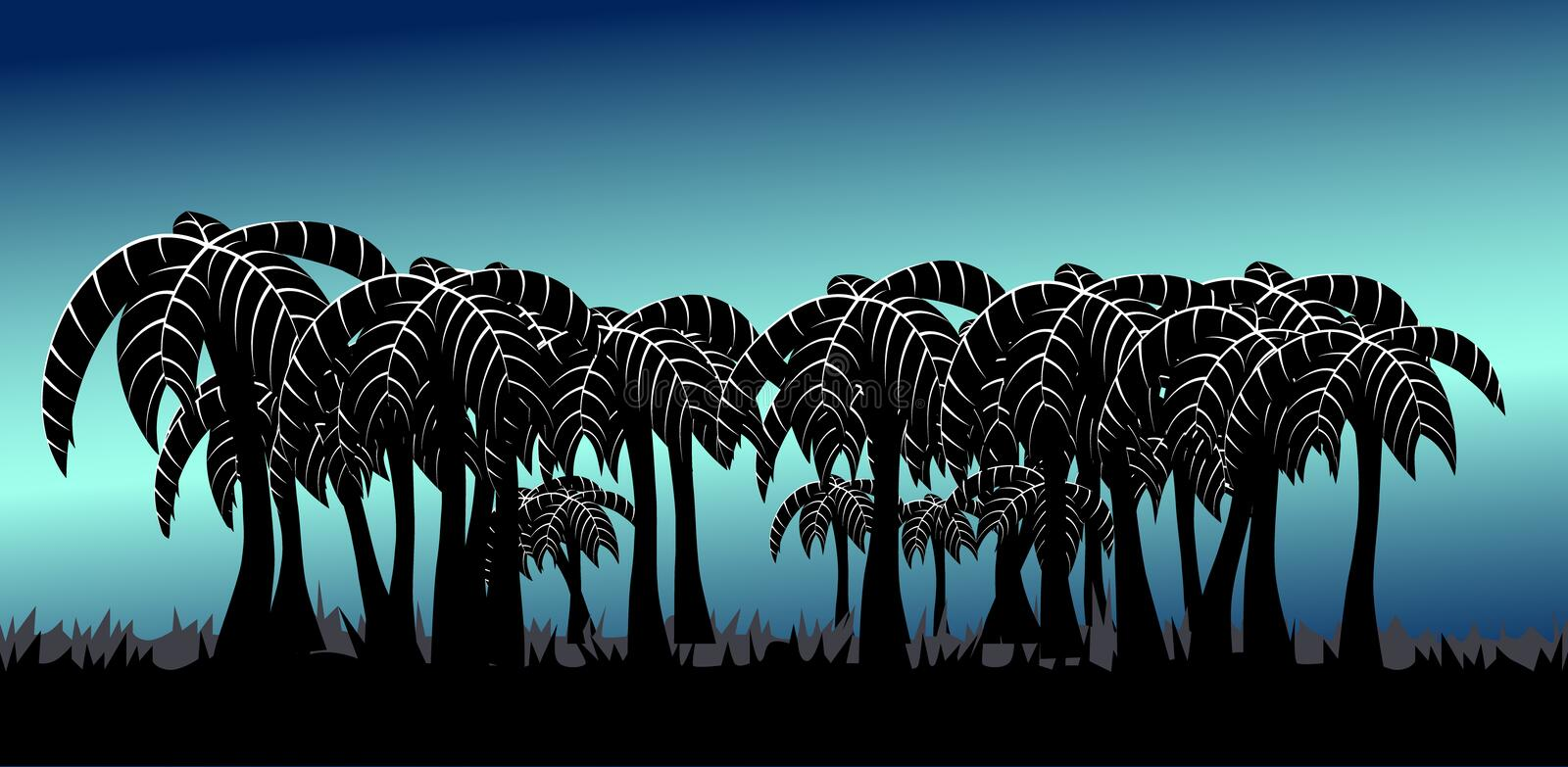 Palm tree alley blue