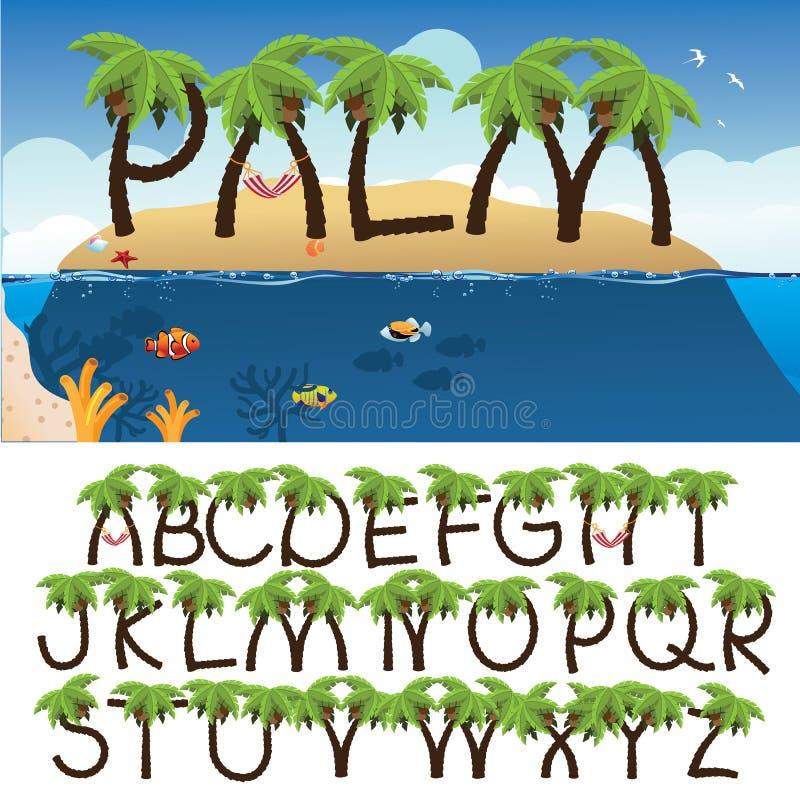 Palm tree alphabet with tropical background. Palm tree alphabet EPS 10 vector stock illustration royalty free illustration