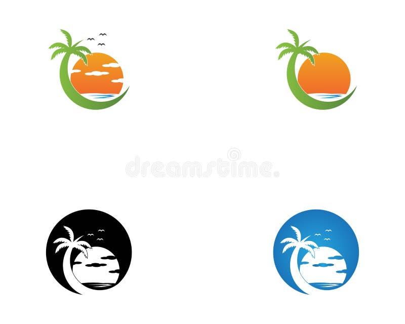 Palm tree beach holiday logo vector stock illustration