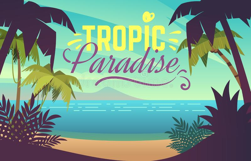 Palm tree beach. Ocean sunset with sand coast beach waves and palm trees, maldives tropical background. Summer vacation royalty free illustration