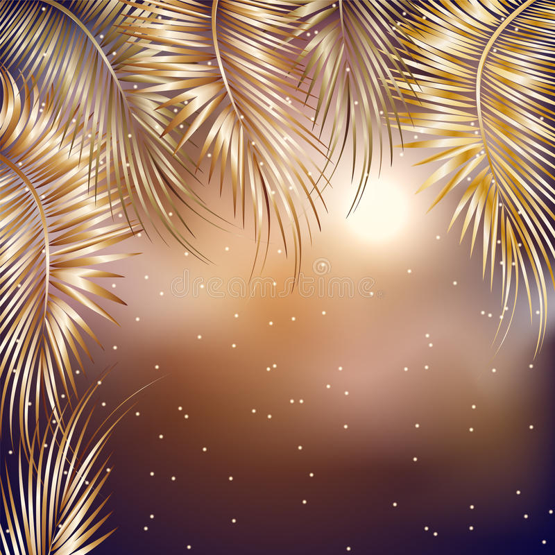 Palm tree branches on black background. royalty free illustration