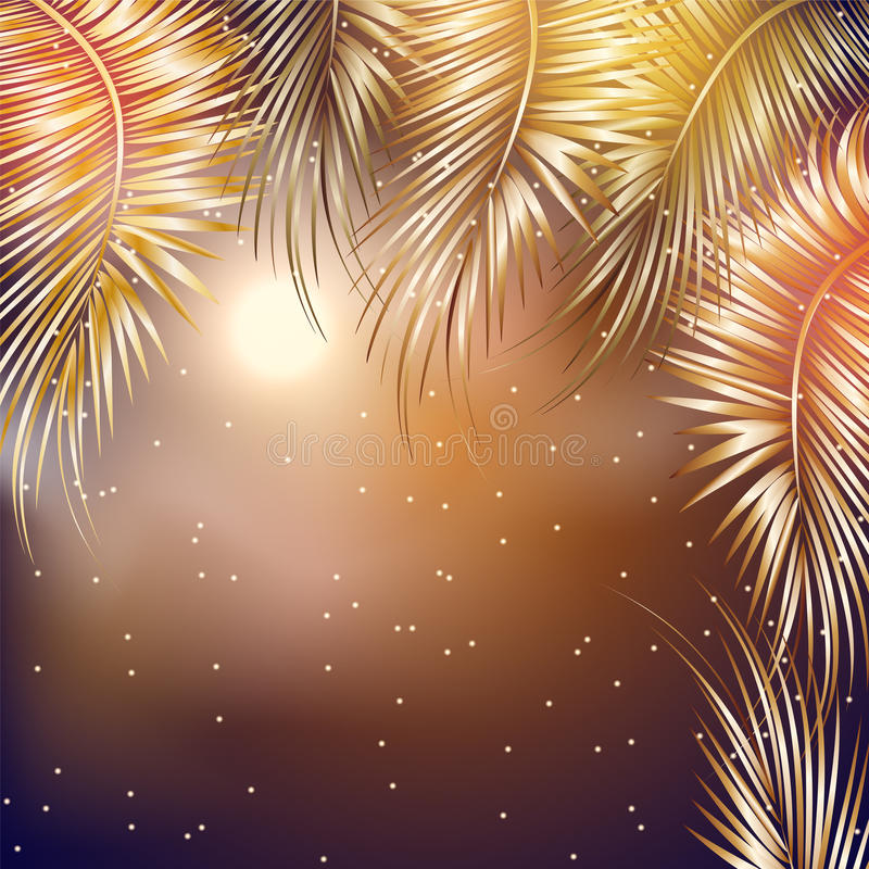 Palm tree branches on night sky background. stock illustration