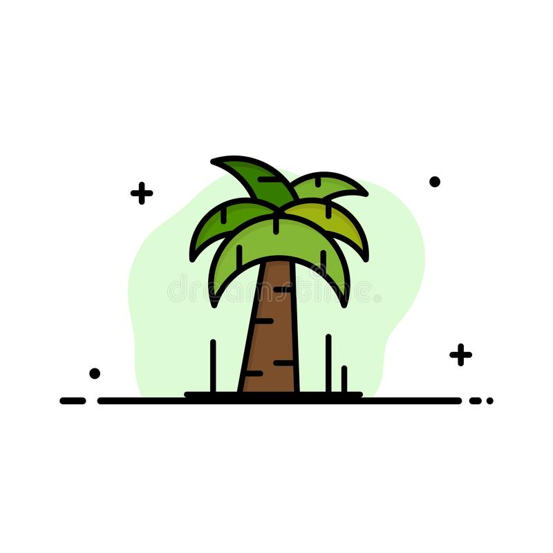 Palm, Tree, Brazil Business Logo Template. Flat Color vector illustration
