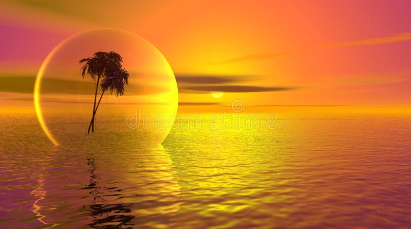 Download Palm Tree In A Bubble On The Ocean Stock Illustration - Image: 9449730