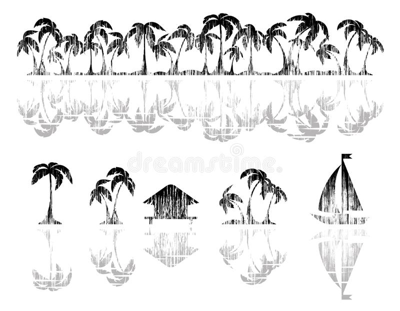 Palm tree, bungalow and  yacht. Palm tree, bungalow on the beach and a yacht. Tropical horizontal borders and design elements with texture. Black silhouette vector illustration
