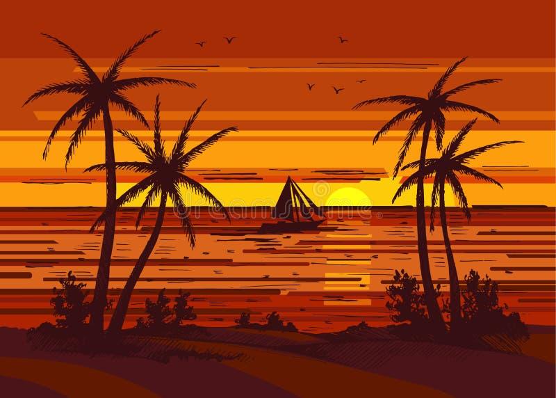Palm tree colored stock illustration
