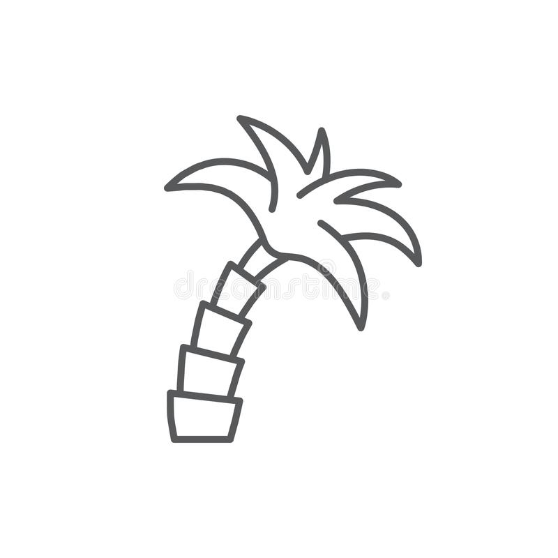 Palm tree editable outline icon - pixel perfect symbol of tropical plant isolated on white background. Thin line vector illustration of beach resort and royalty free illustration