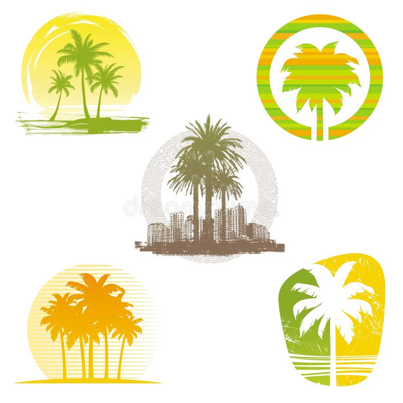 Download Palm Tree Emblems & Labels Royalty Free Stock Images - Image: 19961389
