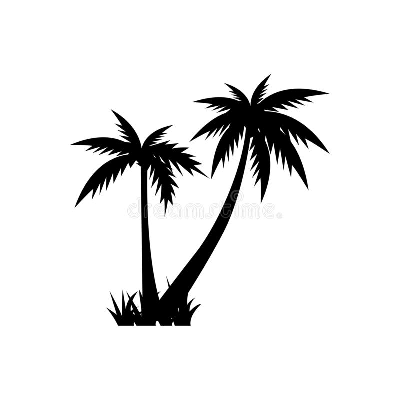 Palm tree graphic design template vector isolated. Pictogram, sand, beautiful, vintage, set, minimalist, black, sun, wave, style, tropical, water, coast, art stock illustration