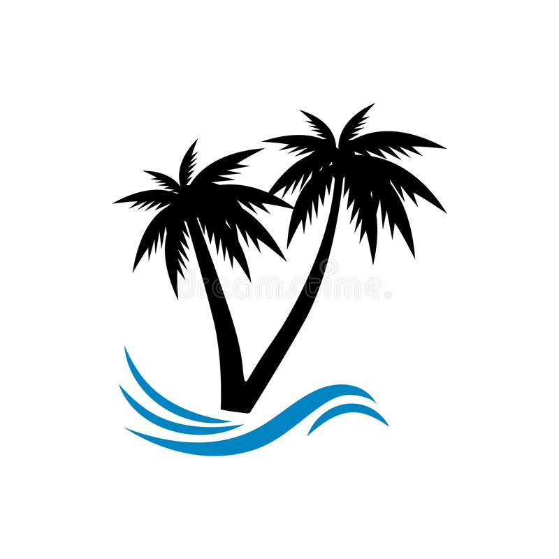 Palm tree graphic design template vector isolated. Pictogram, sand, beautiful, vintage, set, minimalist, black, sun, wave, style, tropical, water, coast, art royalty free illustration
