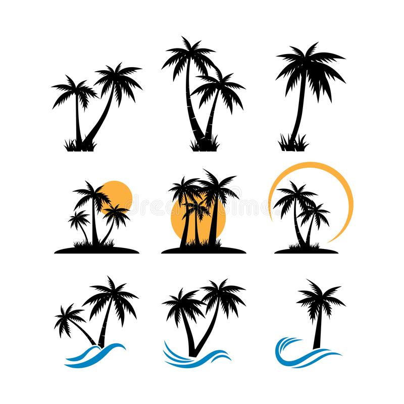 Palm tree graphic design template vector isolated. Pictogram, sand, beautiful, vintage, set, minimalist, black, sun, wave, style, tropical, water, coast, art vector illustration