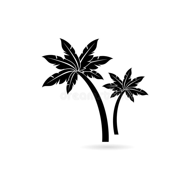 Palm tree icon with shadow. On white vector illustration