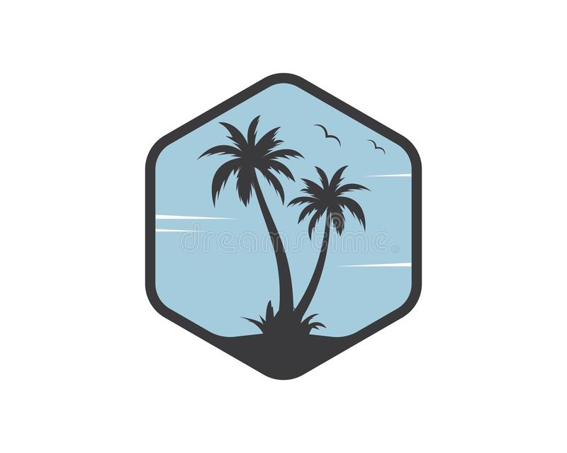 Palm tree icon of summer and travel logo vector illustration stock illustration