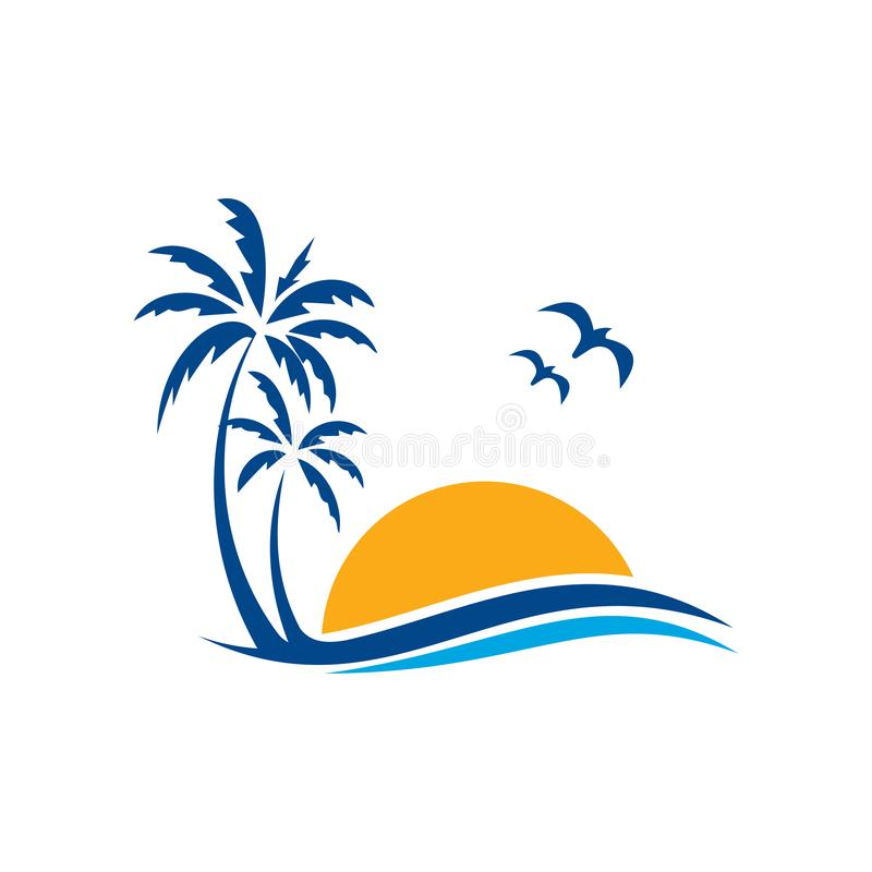 Palm tree icon of summer and travel logo vector illustration design, Beach logo design Vector royalty free illustration