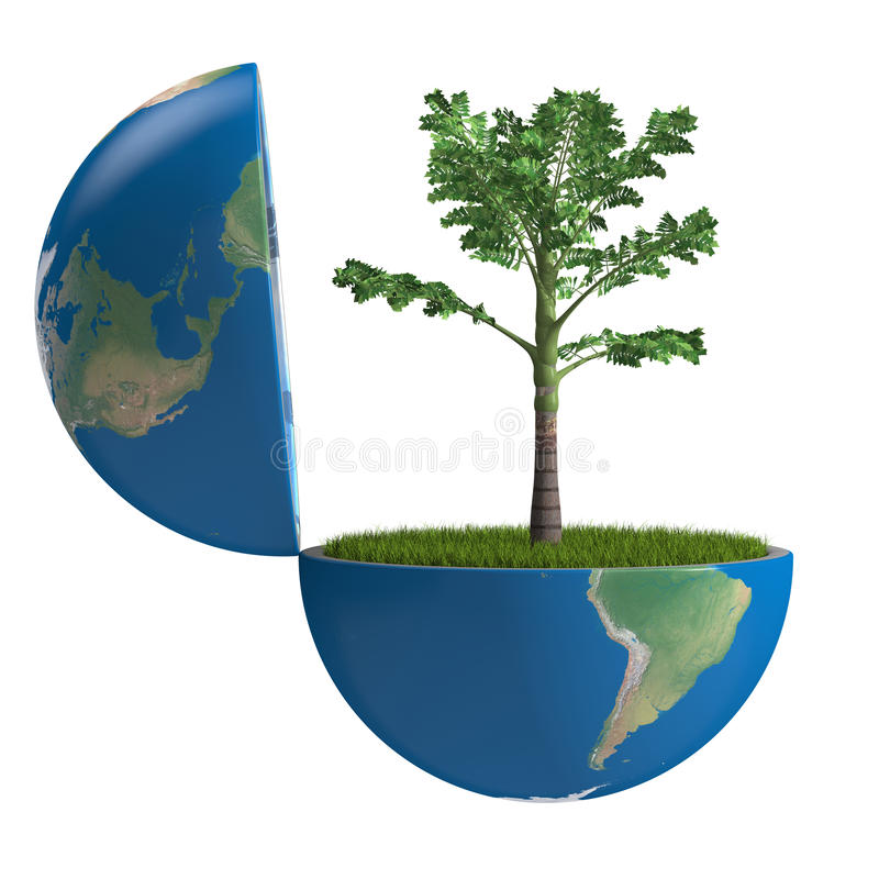 Palm tree inside planet royalty free illustration