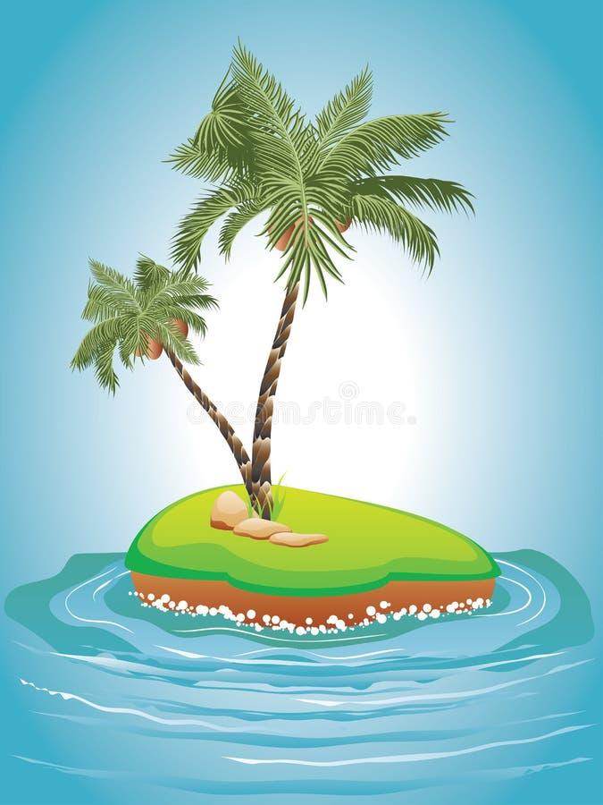 Palm Tree on Island vector illustration