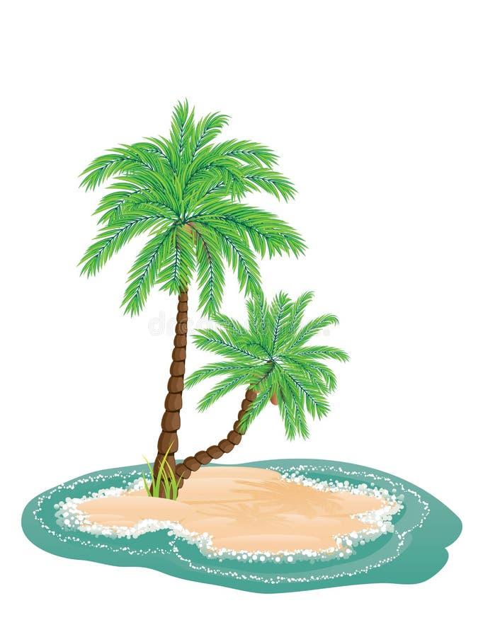 Palm Tree on Island stock illustration