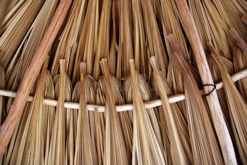 Palm Tree Leaves In Sunroof Palapa Hut Roofing Stock Photo