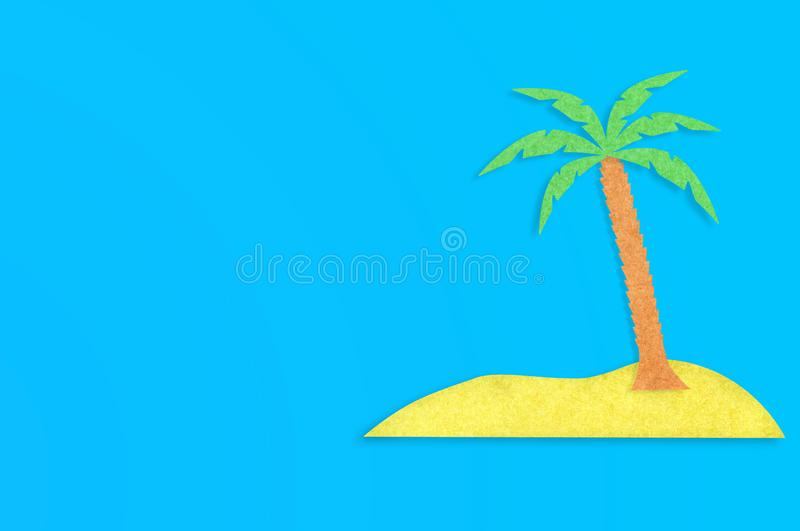 Palm tree with leaves and yellow island cut out from paper on blue table. Top view. Minimalism concept - Image. Copy space for your text royalty free illustration