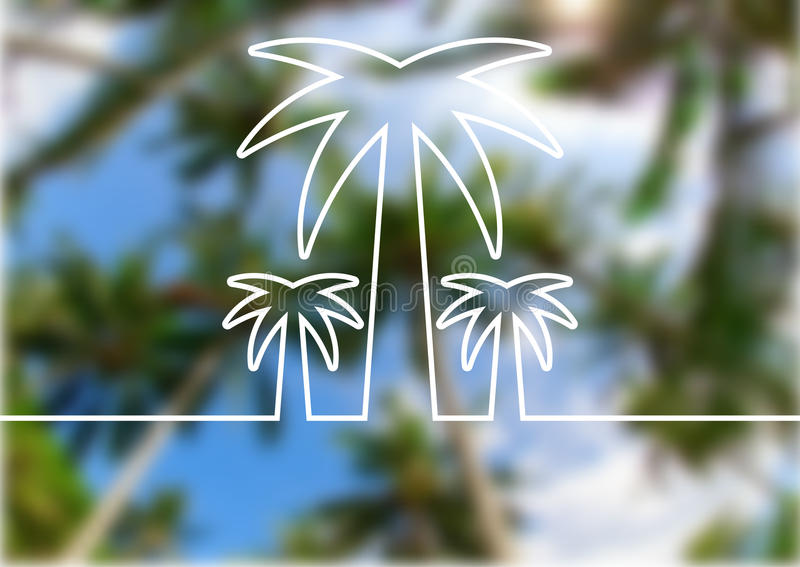 Palm tree line silhouette on summer beach blurred background. Ve stock illustration