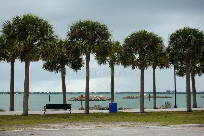 Palm tree lined walk along side the intercoastal. Waterway in Fort Pierce, Florida on a cloudy stormy day stock images
