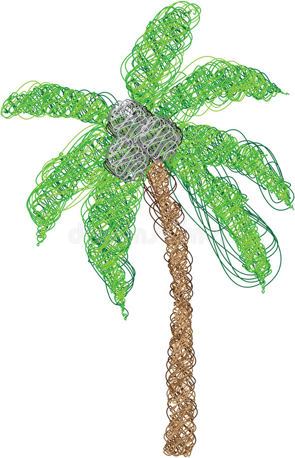Palm Tree Made Of Lines Royalty Free Stock Photography