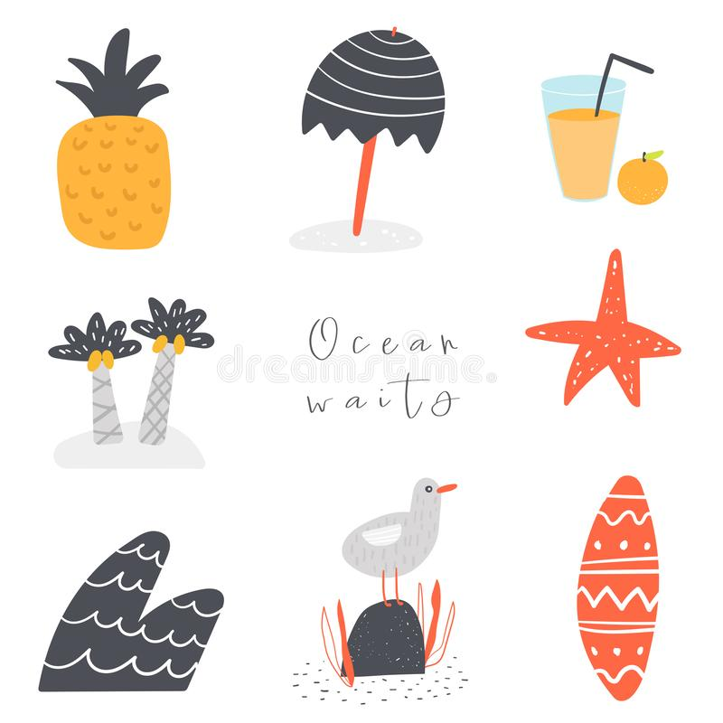 Free Palm Tree, Pineapple, Juice, Sea Star, Wave, Seagull, Surf, Umbrella Background With Text Space, Abstract Elements Stock Images - 147300594
